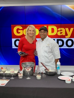 Chef Preston doing a cooking demo for Good Day Orlando.