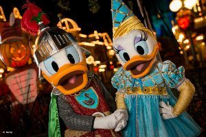 Donald and Daisy Duck in Prince and Princess Costumes at Mickey's Not-So-Scary Halloween Party