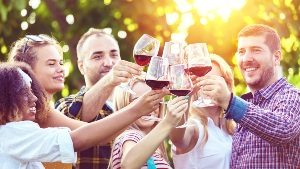 Group of people toasting with wine glasses in a sunny vineyard